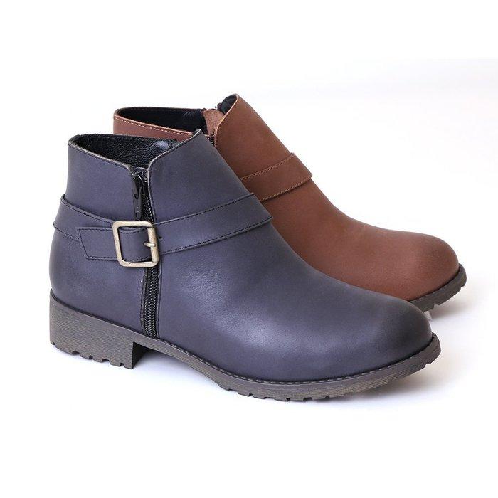 短靴 柔軟氣墊底 復古煙熏漸層雙色單邊金屬釦飾真皮短靴 機車靴 馬靴 MIT台灣手工鞋 丹妮鞋屋