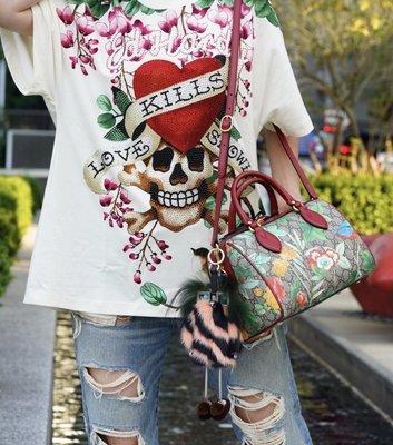 Gucci Linea A printed canvas Bag 小型 花卉波士頓包 紅皮邊 現貨