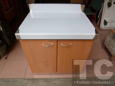 流理台【80公分工作平台】台面&櫃體不鏽鋼 淺木紋色門板 最新款流理臺