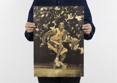 【貼貼屋】NBA 小飛俠 KOBE 柯比 湖人 騎士 勇士 熱火 籃球 復古海報 牛皮紙海報826