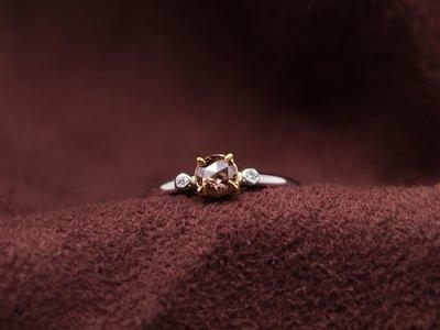 古典車工巧克力鑽小線戒 天然鑽石 彩鑽 14K金鑽戒 比agete份量更足 閃亮珠寶
