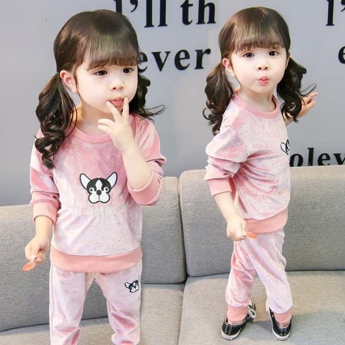 999童裝 女童新款童裝女寶寶春秋款套裝兒童洋氣金絲絨兩件套長袖秋裝01KK12