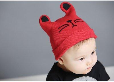 新款韓版貓咪兒童寶寶秋冬毛線帽 針織翻邊套頭保暖帽