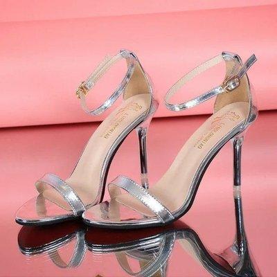 現貨/高跟鞋細跟涼鞋性感黑色露趾簡約女鞋金色高跟一字扣涼鞋女/海淘吧F56LO 促銷價
