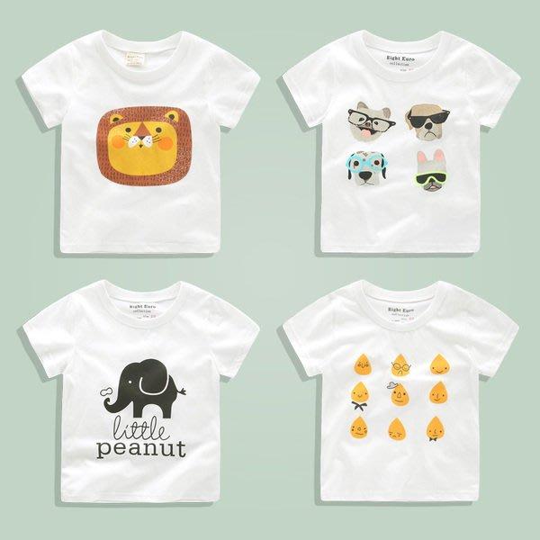 C.M. 館 兒童服飾 可愛卡通圖案純棉舒適好穿白色短袖T恤 95~130公分 小童 大