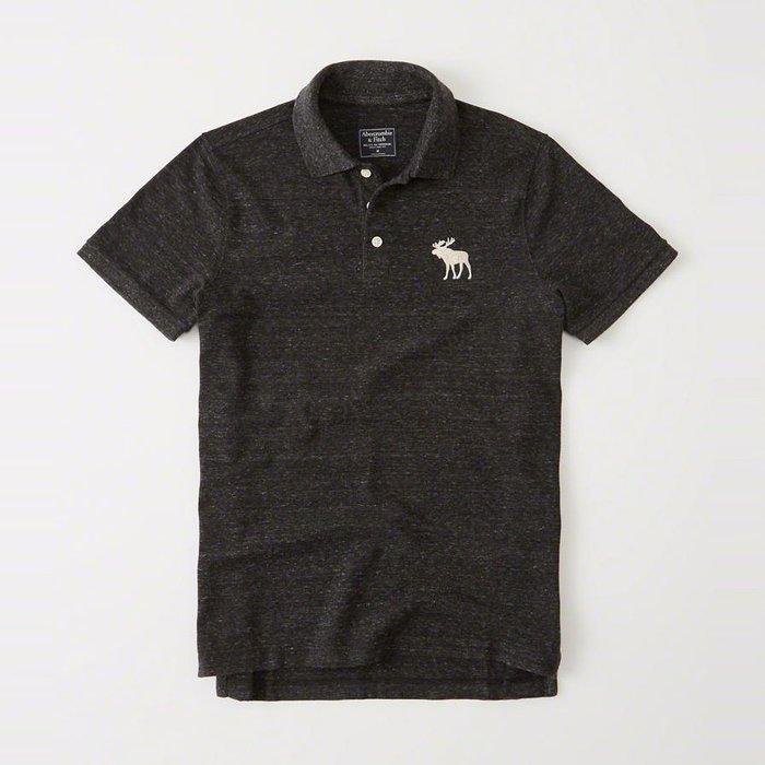 美國百分百【Abercrombie & Fitch】Polo衫 AF 短袖 麋鹿 男 素面 黑灰色 S號 I359