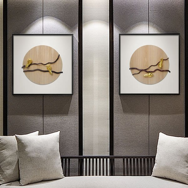 5Cgo【茗道】客廳立體實物裝飾畫沙發背景牆電表箱書房茶室軟裝禪意掛畫拼貼立體抽象小鳥設計師 560077469366