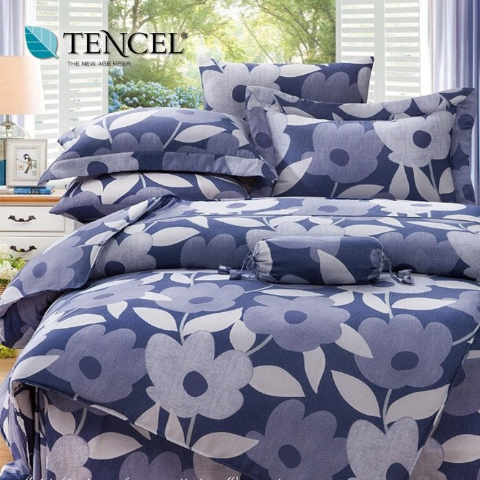 天絲床包四件式 100%頂級天絲 加大雙人6x6.2尺 鋪棉兩用被床包組 附正天絲吊卡 可藍非【芃云生活館】