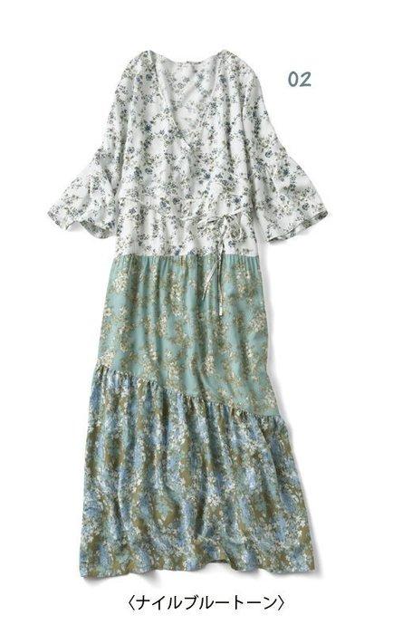 iedit ヴィンテージドレス風デザイン 復古田園拼色 絲質連身長裙 (現貨款特價)