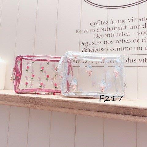 F217冰淇淋玫瑰花防水透明包 化妝包 旅行收納 健身房用品收納 防水洗漱收纳包長形M款$520Gelato pique