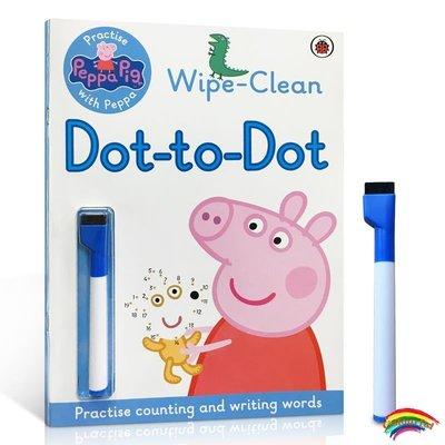 英文原版Peppa: Wipe-clean Dot-to-Dot 粉紅佩佩豬小妹 可擦寫帶刷刷筆 可重復擦寫連線游戲 活動繪本 鍛煉兒童思維能力