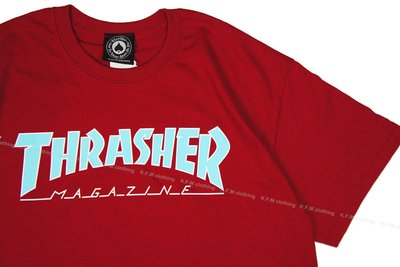 【 K.F.M 】THRASHER OUTLINED T-SHIRT 美國圓筒Tee 經典Logo 短T 短袖 紅