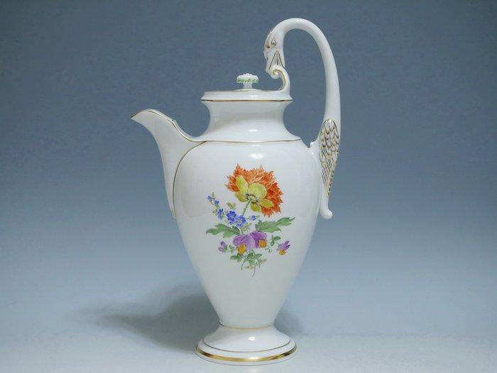 德國 Meissen 麥森 手繪 五彩花卉 畢德麥雅 天鵝頸 大尺寸 咖啡壺- Blue Monday 歐日名品