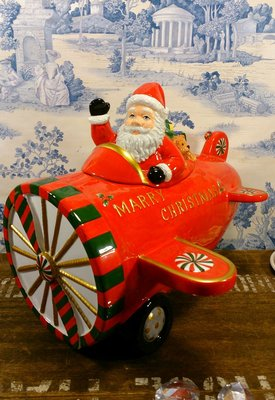 聖誕老公公開飛機陶瓷置物盒:聖誕節 老公公 飛機 陶瓷 置物盒 糖果盒設計 居家 家飾 裝潢 收藏 收納 禮品