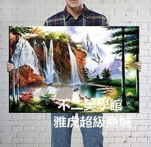 【格倫雅】^瀑布 現代無框掛畫裝飾畫山水畫風景畫油畫國畫79696[g-l-y17