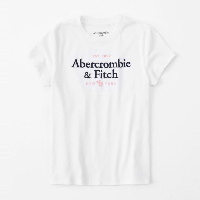 【abercrombie kids】【a&f】af女童款短袖T恤黑粉字小鹿白 F07191118-59