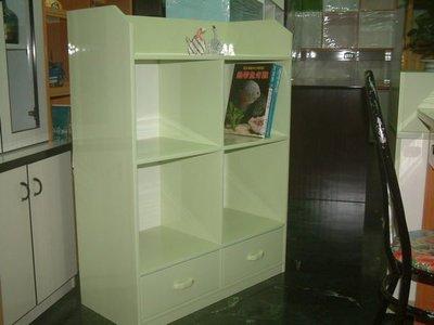 【塑鋼舒美櫥櫃設計~訂做】~不怕水.不生蛀蟲~蘋果綠色~收納書籍用~塑鋼書櫃~