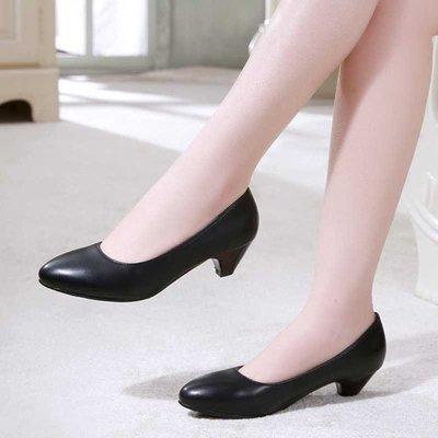 可開發票 37/黑色 低跟白色護士鞋 舒適OL職業黑色工作鞋C0372