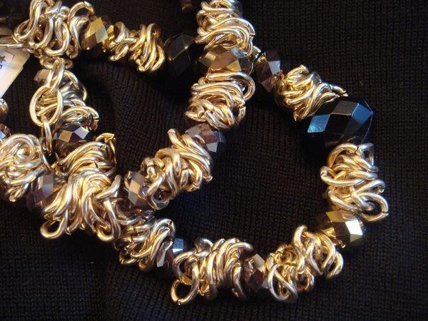 全新美國梅西百貨 Macy s TR/PRO 金色金屬環混搭黑色與金色珠珠項鍊,低價起標無底價!本商品免運費!