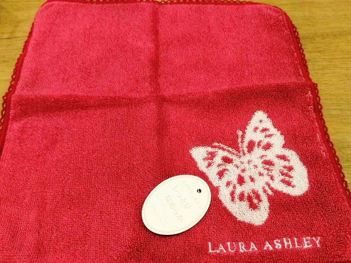 【姐只賣真貨】LAURA ASHLEY 可愛花蝴蝶方巾手帕(紅色) 情人節首選禮物