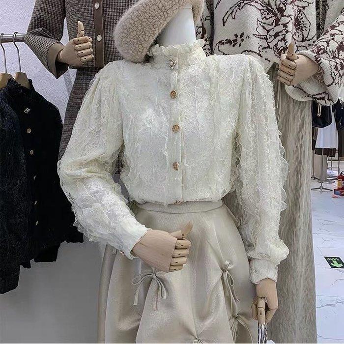 【2A Two】立領蕾絲 質感網紗 繡花長袖襯衫『BB00493』