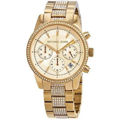 【換日線】女錶 Michael Kors Ritz Pave Chronograph Crystal Gold Dial Ladies Watch MK6484