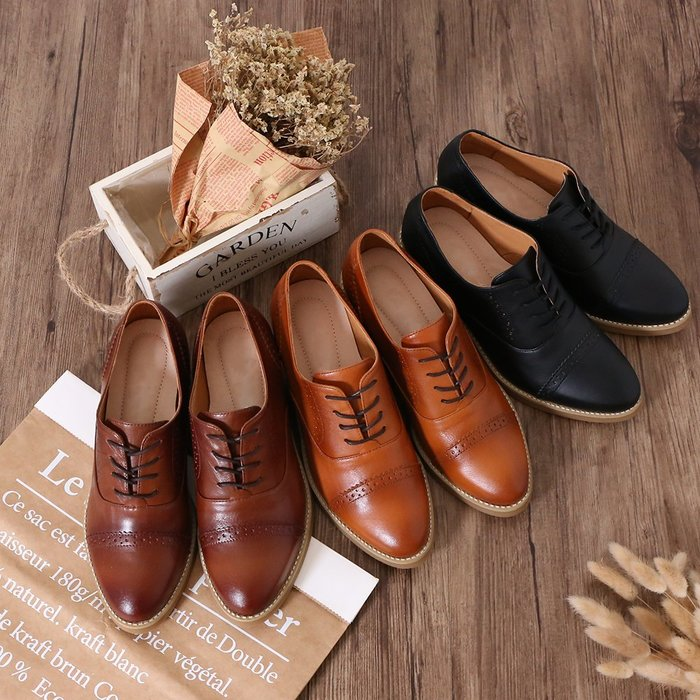 牛津鞋 植鞣水蠟漸層感雙色氣墊雕花牛津鞋 MIT台灣製造手工鞋 丹妮鞋屋