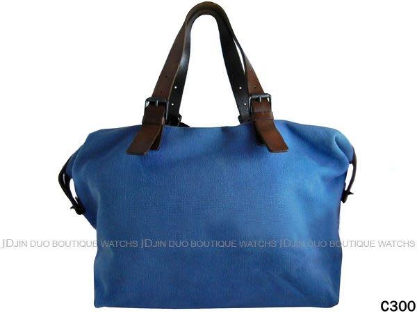 金鐸精品~C300 BOTTEGA VENETA BV 丹寧藍色帆布 旅行袋 肩背包