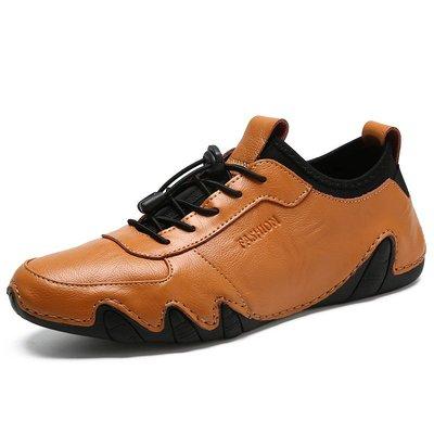 男英倫尖頭皮鞋新款春秋透氣八爪魚男鞋手工大碼休閑皮鞋男爆款真皮鞋子外貿
