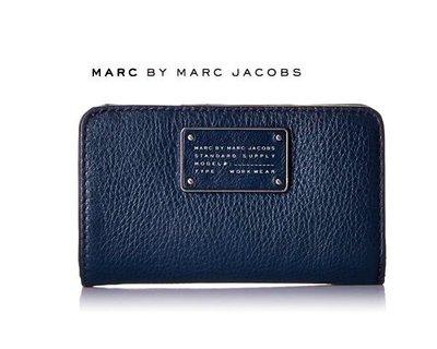MARC BY MARC JACOBS► ( 深藍色) 真皮兩摺中夾 錢包 皮夾|100%全新正品|特價!