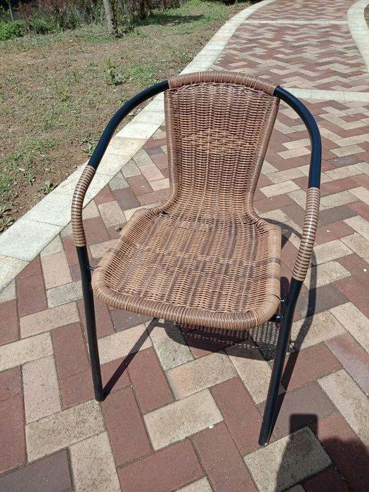 [兄弟牌休閒傢俱] 2 張 休閒pe藤椅(黑色/綠色鐵管可選),自辦進口絕對超低價~庭院椅~咖啡椅休閒傢俱