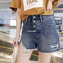 發發潮流服飾2019春夏季新款網紅不規則毛邊破洞高腰牛仔短褲女寬松顯瘦熱褲潮