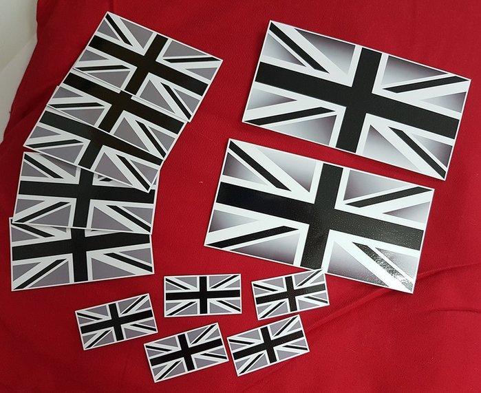 英國國旗灰色版本,15X7.5公分每張160元,10X5公分每張40元,5X2.5公分每張20元
