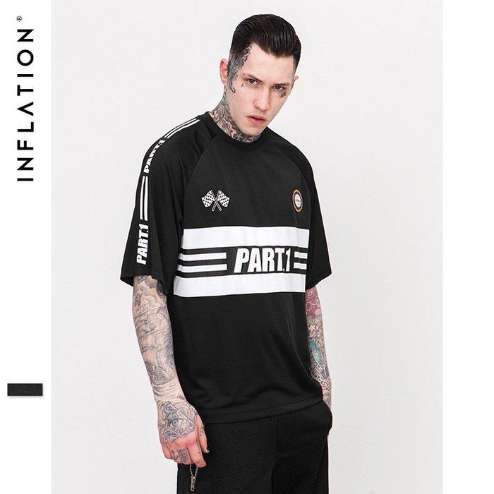 TST- 側邊條 巴黎 文字 球衣 寬鬆 大尺寸 oversize 落肩五分袖 短袖T恤 短T 情侶款美式西岸