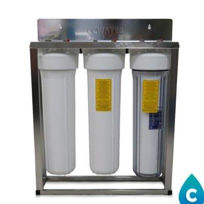 限量版【清淨淨水店】出口款20吋大胖三管淨水器一透雙白瓶/純淨白/水塔過濾器/不鏽鋼腳架4290元。
