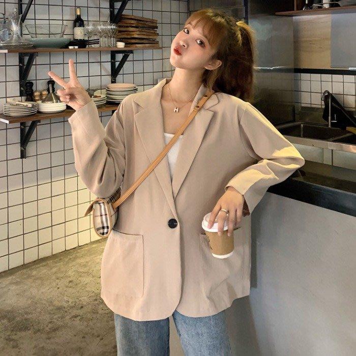 小香風 短袖T恤 時尚穿搭 韓版 chic寬松簡約中長款純色薄款長袖西裝外套女學生