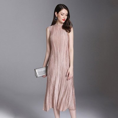 無袖洋 裝 連身 短裙-圓領時尚皺褶純色女裙子4色73yf35[獨家進口][米蘭精品]