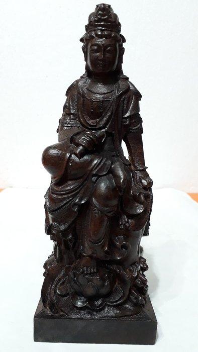 【九龍藝品】沉木雕 ~ 水月書卷觀音菩薩 ~ 高約21公分 (1)
