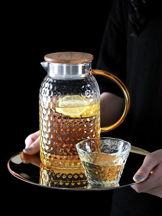 日式家用冷水壺高硼硅玻璃鋼耐高溫大容量涼白開水壺簡約錘紋防爆玻璃水杯 陶瓷水杯 保溫杯 熱賣 保溫瓶 隨身杯 茶杯