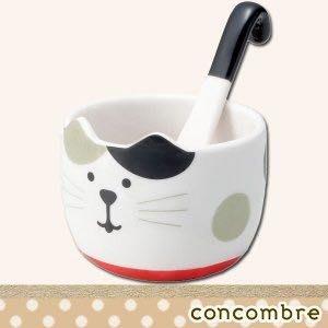 現貨 日本 正品 Decole 貓咪 陶瓷 冰淇淋碗 碗 點心碗 附湯匙