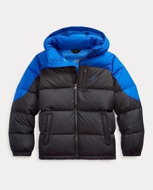 全新美國Ralph Lauren Polo藍黑撞色繡馬保暖羽絨外套 大童XL 免運