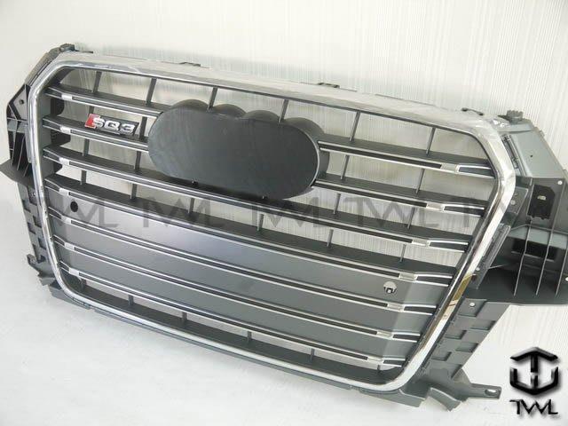 《※台灣之光※》全新現貨 AUDI奧迪Q3 12 13 14 15年新款S SQ3款 改裝電鍍框橫條灰格水箱罩