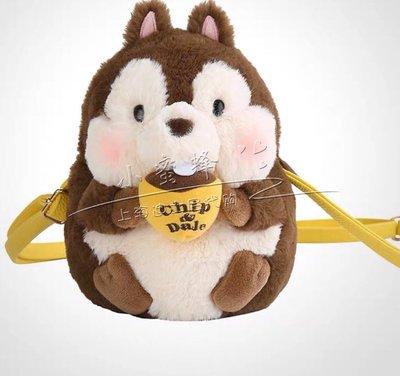 上海迪士尼 國內代購花栗鼠鋼牙奇奇蒂蒂公仔造型卡通背包斜挎包