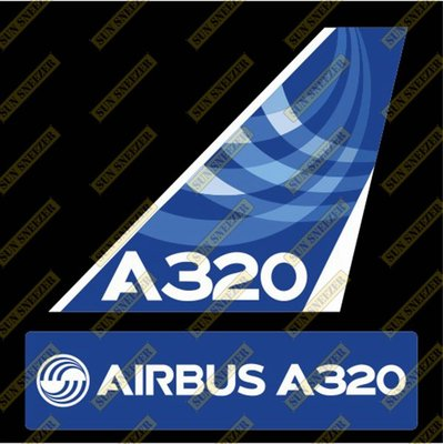 AIRBUS 空中巴士 A320 Logo 出廠塗裝 垂直尾翼 3M防水貼紙 尺寸上63x86mm 下 23x90mm