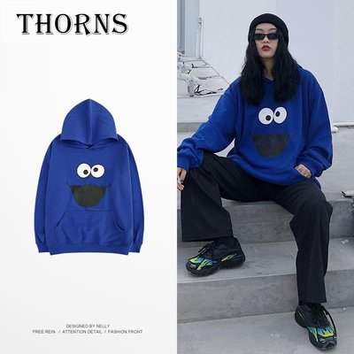 【THORNS】潮牌日系連帽衛衣男女藍色寬松加絨情侶裝印花套頭衫學生外套bf風