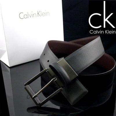 CK專櫃正品◎全新Calvin Klein原廠正品鈦灰滾輪款百搭雙面真皮帶 ◎可附原廠提袋