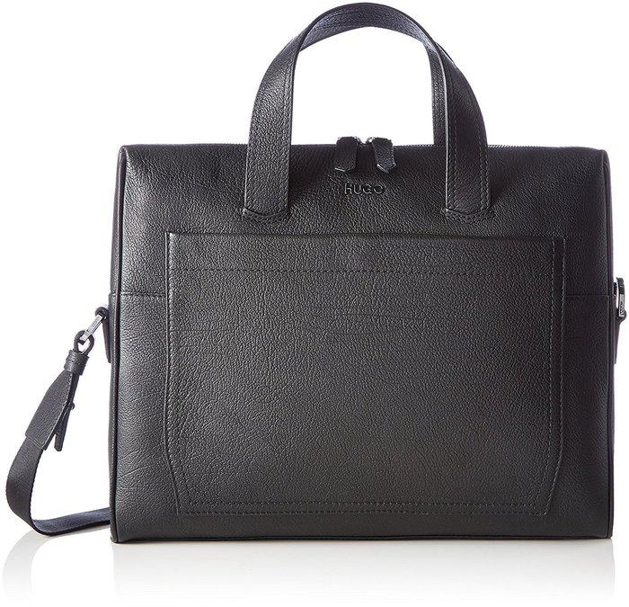 德國 雨果 HugoBoss 全牛皮雙層皮革單肩斜跨公事包商務手提包 - 經典黑 6.5x 29.5x 38cm