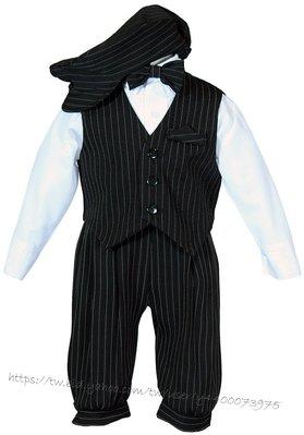 妍媽咪兒童禮服出租~美國製黑白紳士風條文五件組兒童禮服~婚禮男花童