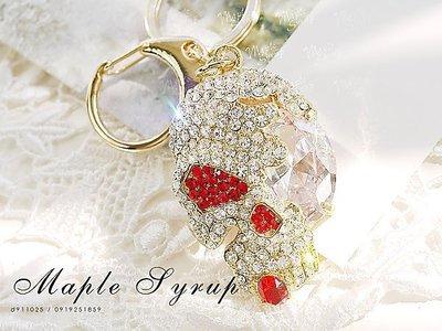 經典飾集☆韓國進口-龐克甜美感 耀眼滿鑽寶石獨眼骷髏 鑰匙圈(28-59-1)金紅