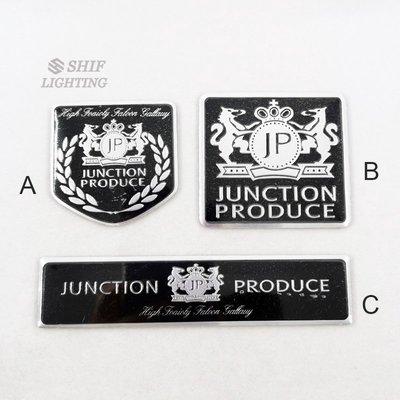 1 x 鋁 JP JUNCTION PRODUCE 汽車裝飾後側徽徽章貼紙貼花 車貼 車標 標誌  #川川而上#YUTY2548